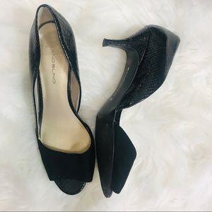 Bandolino Black Python Kitten Heels Size 8.5